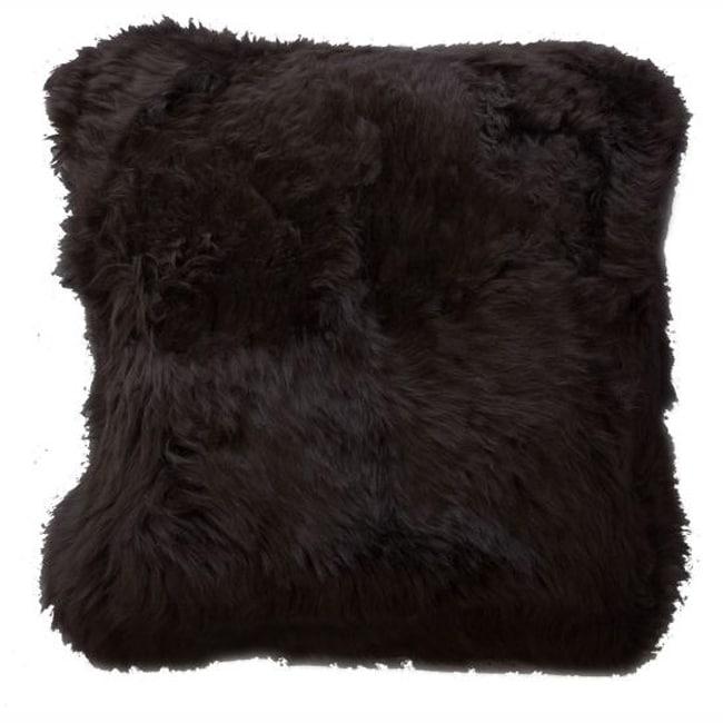nuLOOM Decorative Sheepskin Dark Brown Wool Pillow