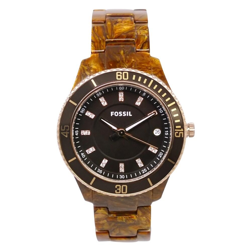 "Fossil Women's ES3088 ""Stella"" Tortoise Resin Watch"