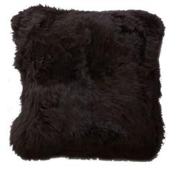 Decorative Sheepskin Dark Brown Wool Pillow
