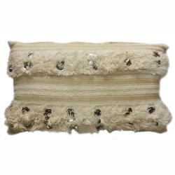 nuLOOM Decorative Moroccan Embroidered Natural Wool Pillow