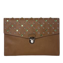 Prada Jeweled Leather Oversized Clutch