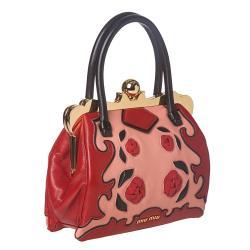 Miu Miu Red/ Pink Rose-embellished Handbag