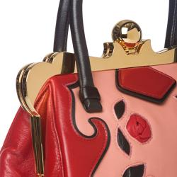 Miu Miu Red/ Pink Rose-embellished Handbag
