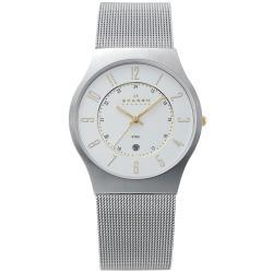 Skagen Men's Slimline Silver Dial Mesh Watch