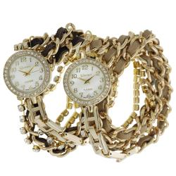 Geneva Platinum Women's Rhinestone Wrap-around Bracelet Watch