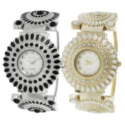 Geneva Platinum Women's Water-Resistant Rhinestone-Accented Mother of Pearl Cuff Watch