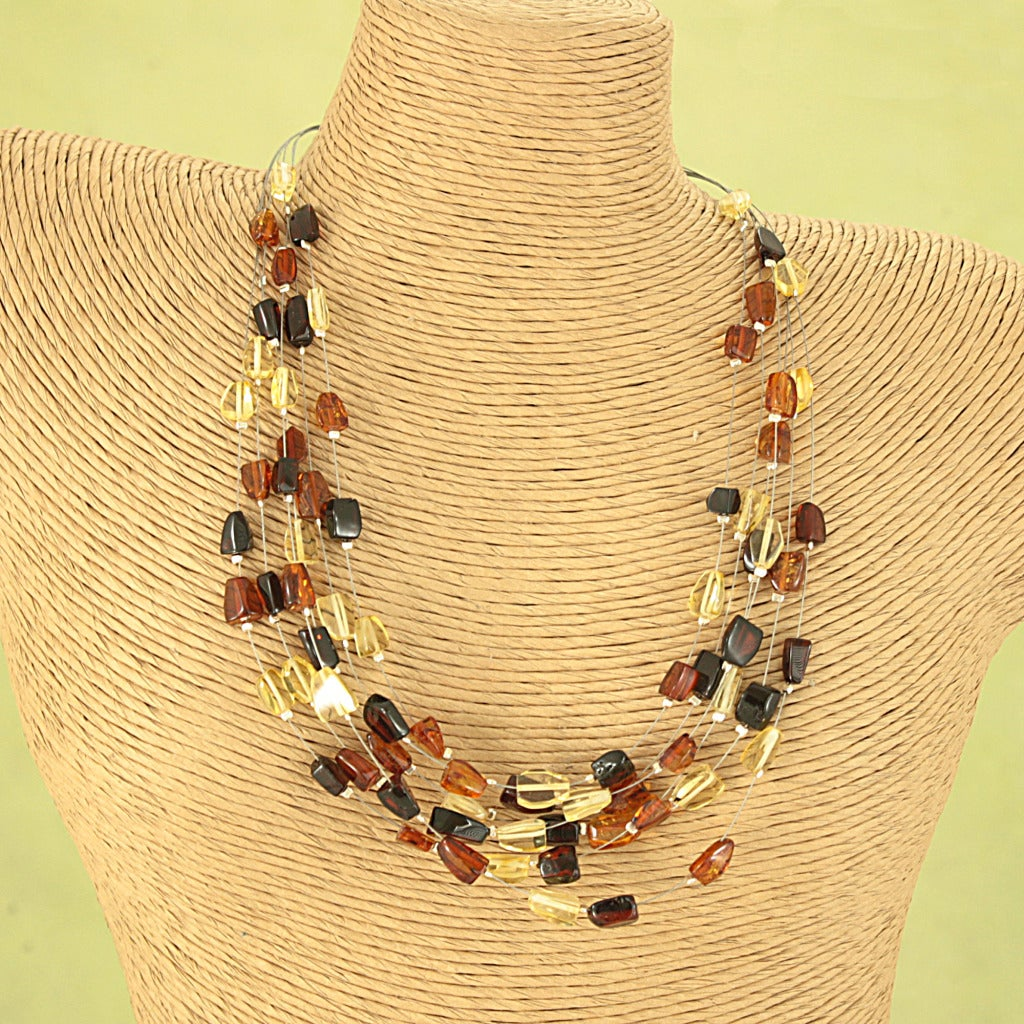 Handcrafted Baltic Amber Rain Angular Nugget Necklace (Lithuania)