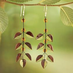 Sterling Silver Two Tone Baltic Amber Leaves Earrings (Lithuania)