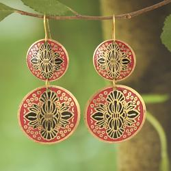 Handcrafted Goldtone Matt Red Enamel Drop Earrings (India)
