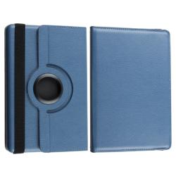 Blue Leather Swivel Case/ Travel Charger/ Cable for Amazon Kindle Fire