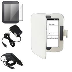 White Case/ Screen Protector/ Chargers for Barnes & Noble Nook 2
