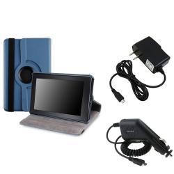 Blue Swivel Case/ Travel Charger/ Car Charger for Amazon Kindle Fire