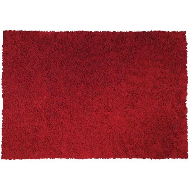 Handmade Pasta Red Cotton Rug (4'7 x 7'7)