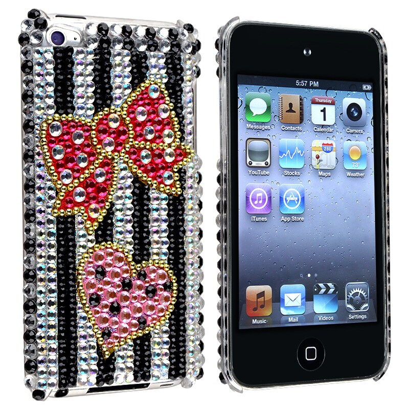 Zebra/ Bling Bow and Heart Case for Apple iPod Touch Generation 4