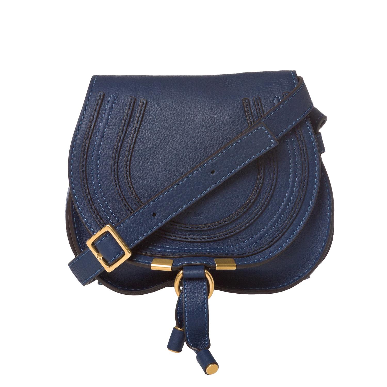Chloe 'Marcie' Mini Navy Leather Saddle Bag
