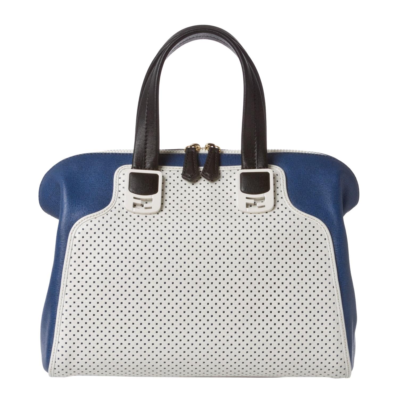 Fendi Chameleon Small White Perforated/ Blue Leather Satchel