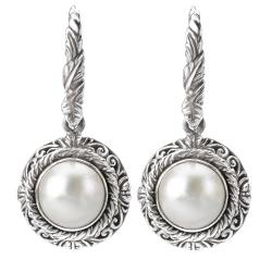 Sterling Silver White Mabe Pearl Earrings