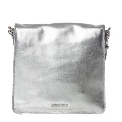 Miu Miu Metallic Silver Leather Cross-body Bag