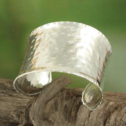 Handcrafted Silver Plated Wide Hammered Asymmetrical Cuff Bracelet (India)