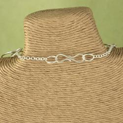 Handcrafted Silver Plated Long Multiple Circles Necklace (India)