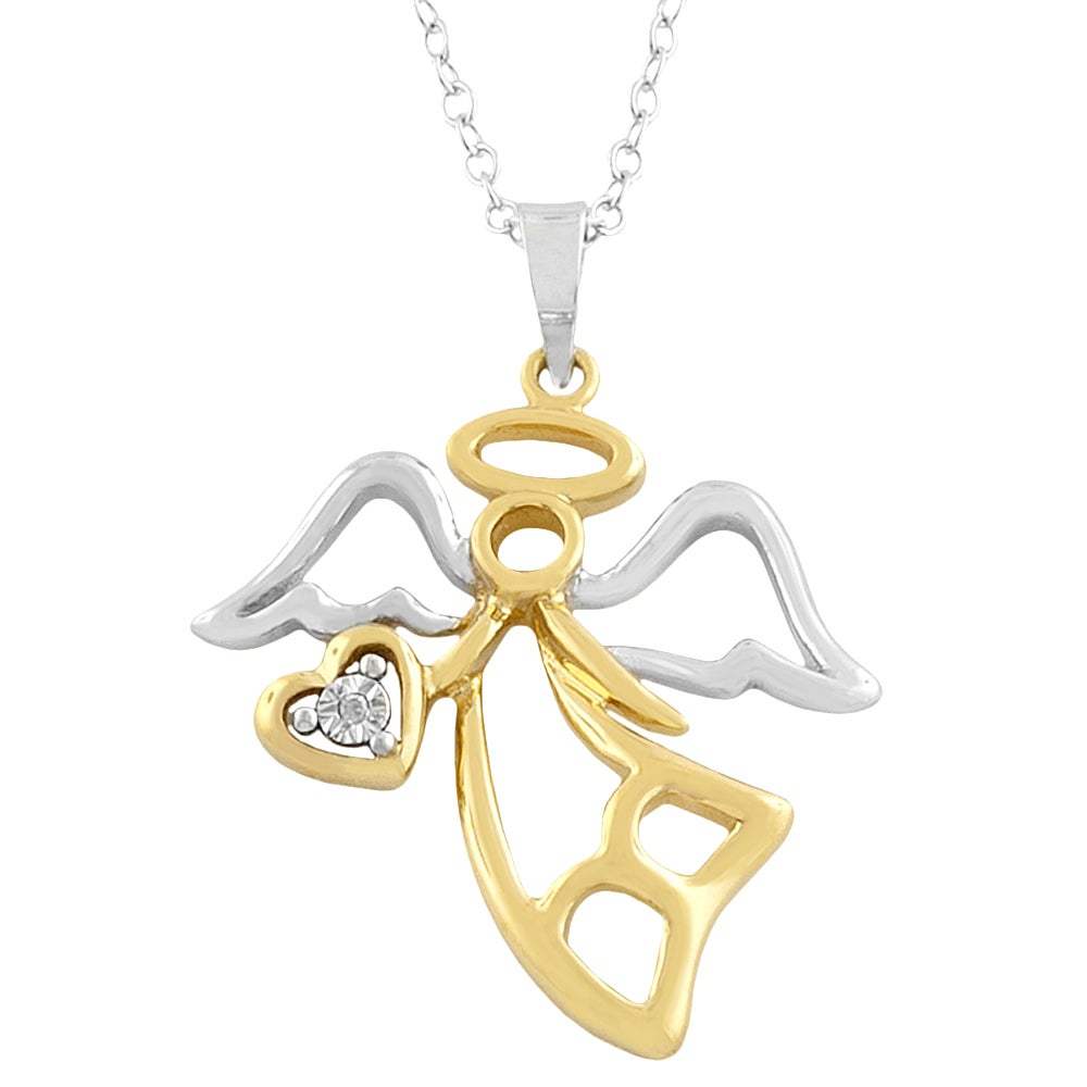 Fremada Gold over Sterling Silver Angel w/ Diamond Accent Necklace
