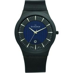 Skagen Men's Titanium Black and Blue Dial Watch