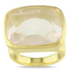 Miadora 18k Yellow Gold-plated Silver 15ct TGW Rose Quartz Cocktail Ring
