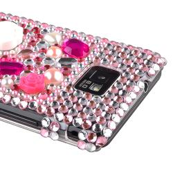 Bling Rosy Rear Rubber Coated Case for Samsung Galaxy S II i9100