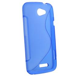 Blue S Shape TPU Rubber Skin Case for HTC One X
