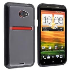 Clear with Black Trim TPU Rubber Skin Case for HTC EVO 4G LTE