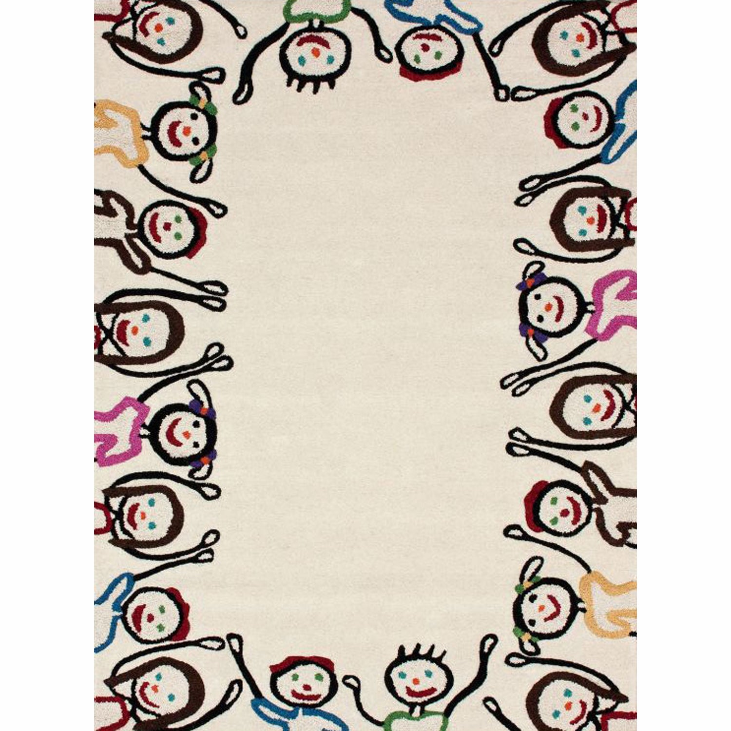 nuLOOM Handmade Kids Playing Ivory Wool Rug (6' x 9')