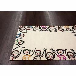 nuLOOM Handmade Kids Playing Ivory Wool Rug (5' x 7')