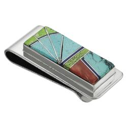 Tressa Tressa Sterling Silver Genuine Turquoise Inlay Southwest Money Clip
