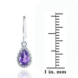 Glitzy Rocks Sterling Silver Pear-shaped Amethyst Dangle Hook Earrings (3/4ct TGW)