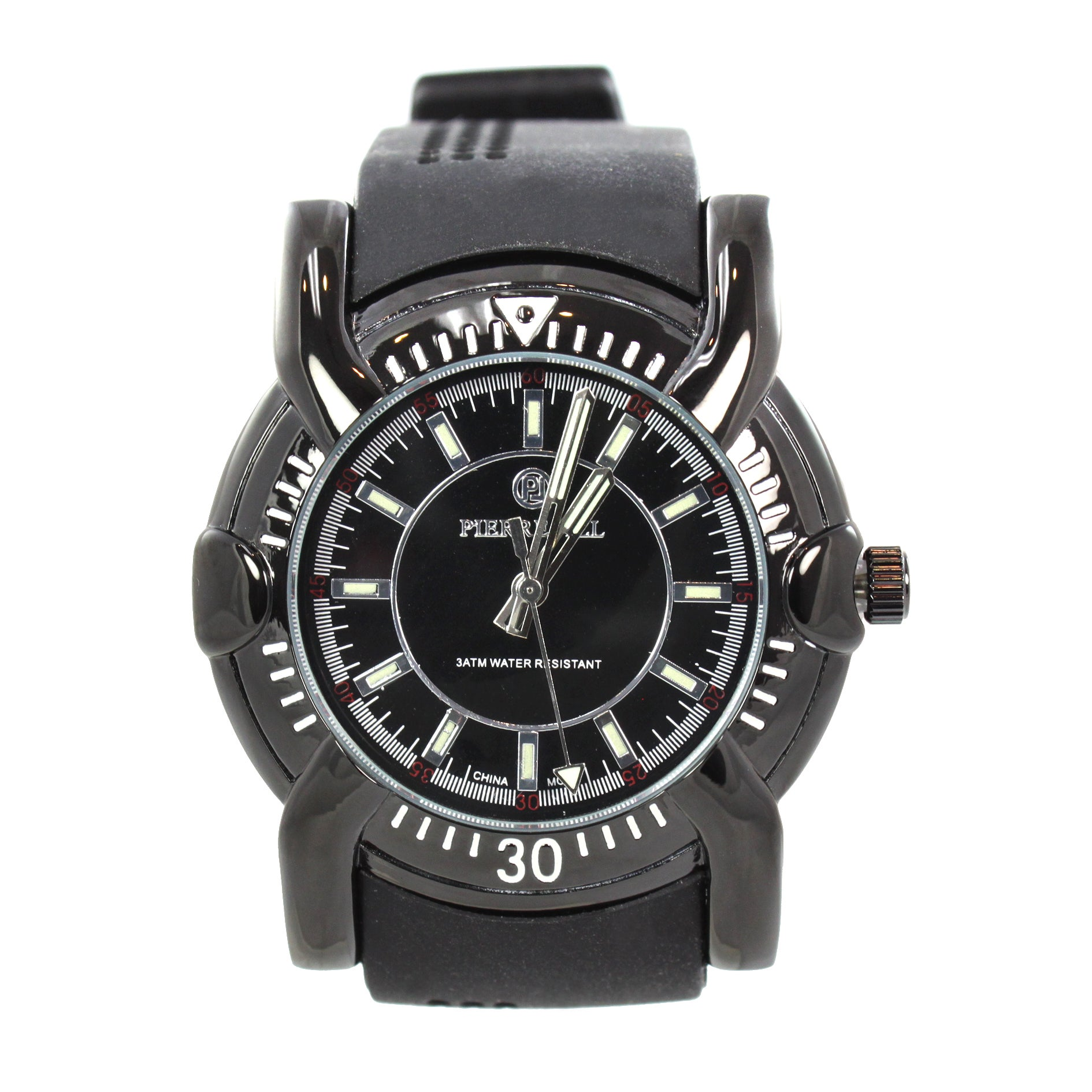 Pierre Jill Men's Black Silver Dial Black Silicone Strap Watch