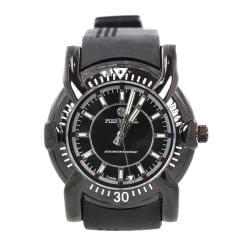 Pierre Jill Men's Black Silver Dial Black Silicone Strap Watch