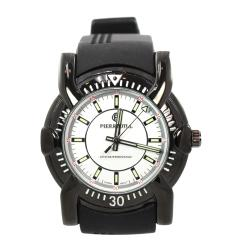 Pierre Jill Men's White Silver Dial Black Silicon Strap Watch