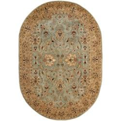 Handmade Persian Legend Blue/ Gold Wool Rug (4'6 x 6'6 Oval)