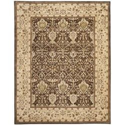 Handmade Persian Legend Brown/ Beige Wool Rug (7'6 x 9'6)