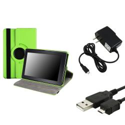 Green Swivel Case/ USB Cable/ Travel Charger for Amazon Kindle Fire