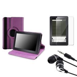 Purple Swivel Case/ Screen Protector/ Headset for Amazon Kindle Fire