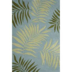 Handmade Ferns Blue New Zealand Wool Rug (7'6 x 9'6)