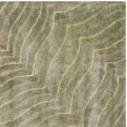 Handmade Maz Grey New Zealand Wool Rug (6' Square)