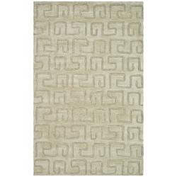 Handmade Puzzles Light Green New Zealand Wool Rug (8'3 x 11')