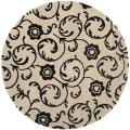 Handmade Rose Scrolls Beige New Zealand Wool Rug (2'6 x 12')