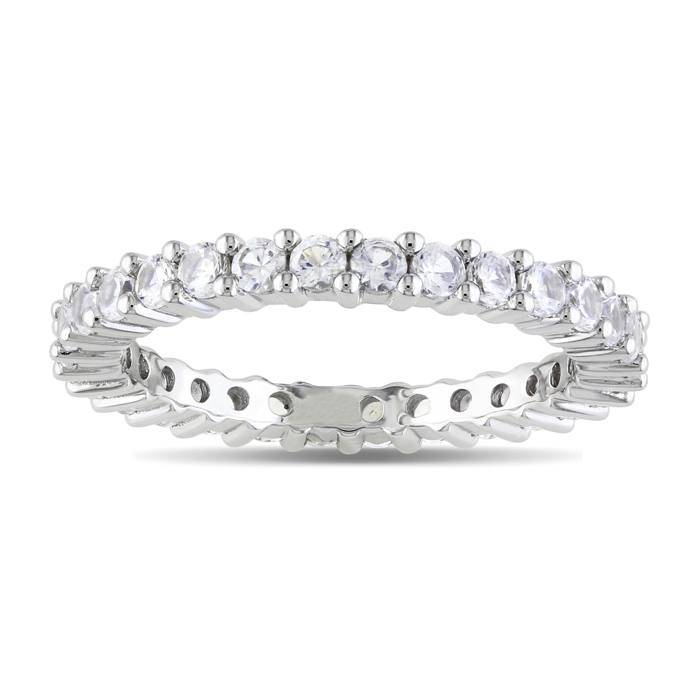 Miadora 10k White Gold 1 1/5 CT TGW Created White Sapphire Eternity Ring (Size 6)