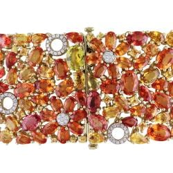 Miadora 14k Yellow Gold 82 Ct TGW Multi-Colored Sapphire and 3/4 ct TDW Bracelet (G-H, SI1)