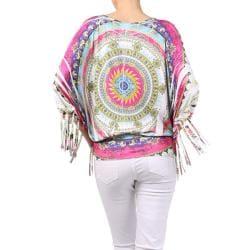 Tabeez Women's Printed Fringed Sleeves Top