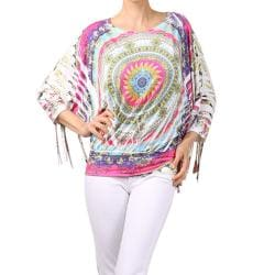 Tabeez Women's Printed Fringed Sleeves Top