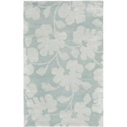 Handmade Shadows Light Blue New Zealand Wool Rug (6' x 9')